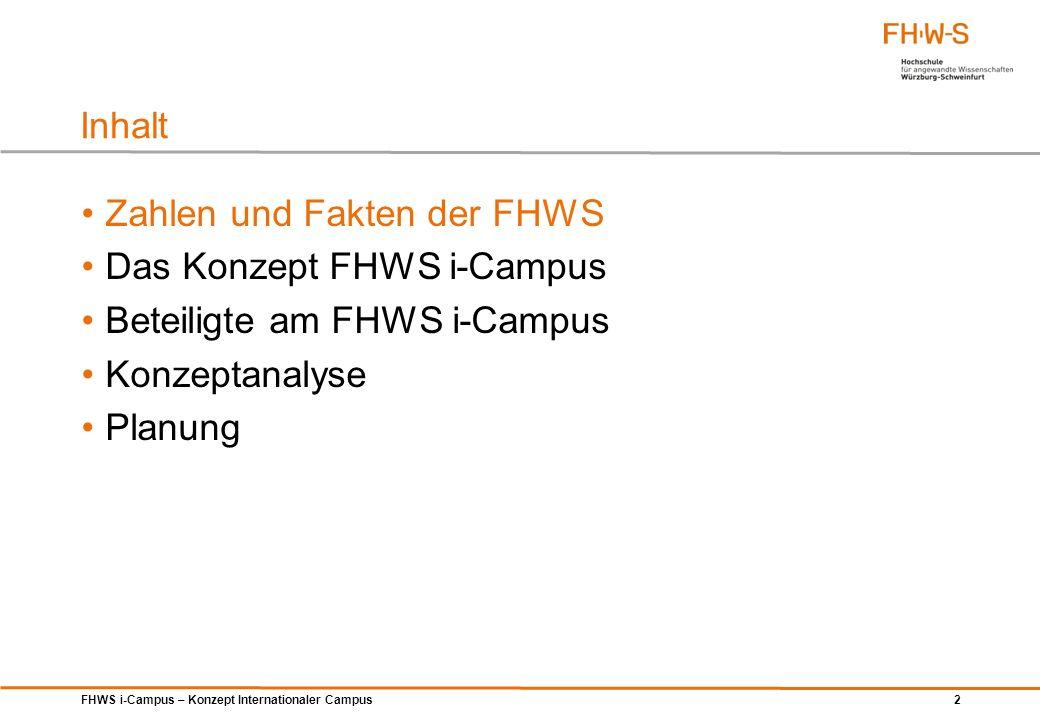 FHWS i-Campus – Konzept Internationaler Campus 2 Zahlen und Fakten der FHWS Das Konzept FHWS i-Campus Beteiligte am FHWS i-Campus Konzeptanalyse Planu