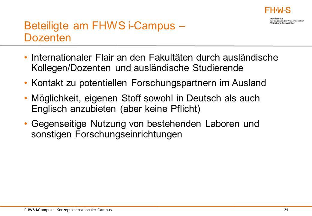 FHWS i-Campus – Konzept Internationaler Campus 21 Beteiligte am FHWS i-Campus – Dozenten Internationaler Flair an den Fakultäten durch ausländische Ko