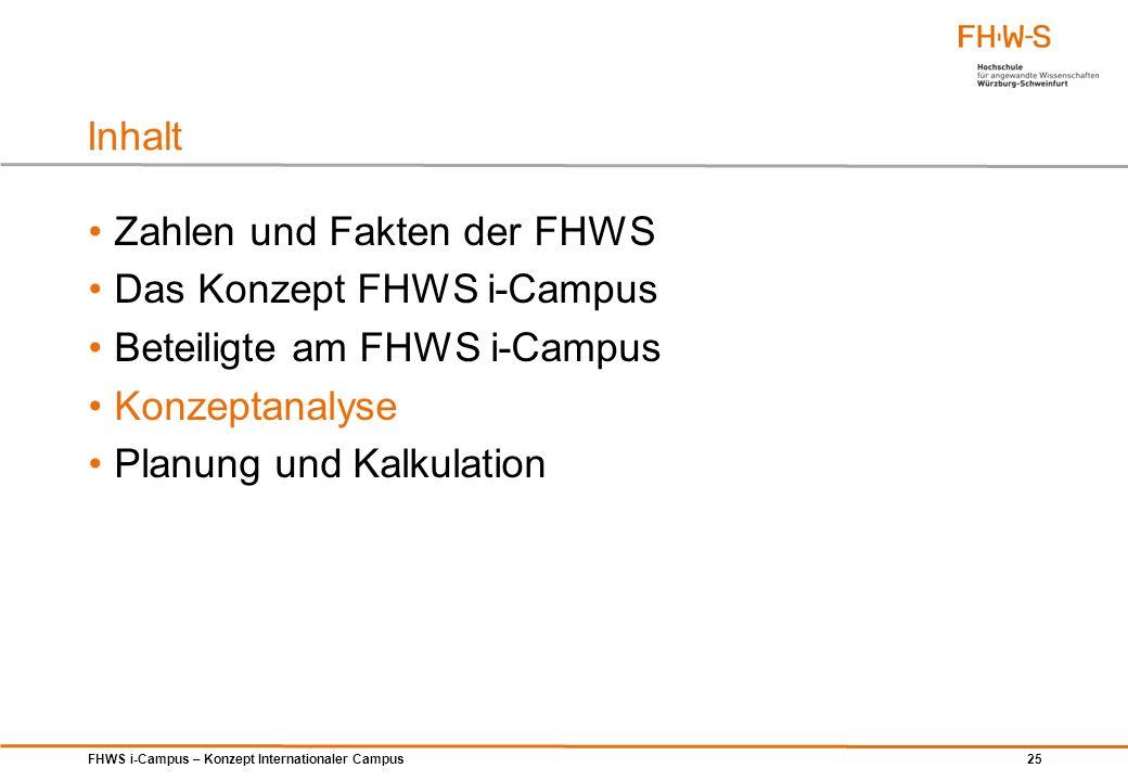 FHWS i-Campus – Konzept Internationaler Campus 25 Zahlen und Fakten der FHWS Das Konzept FHWS i-Campus Beteiligte am FHWS i-Campus Konzeptanalyse Plan