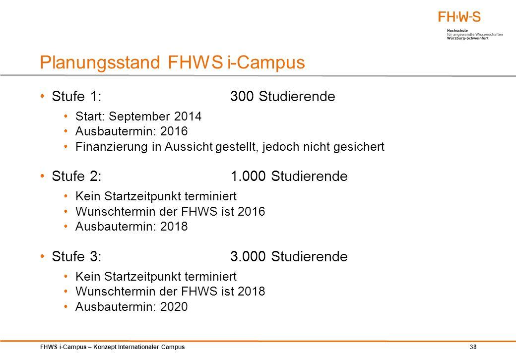 FHWS i-Campus – Konzept Internationaler Campus 38 Stufe 1: 300 Studierende Start: September 2014 Ausbautermin: 2016 Finanzierung in Aussicht gestellt,