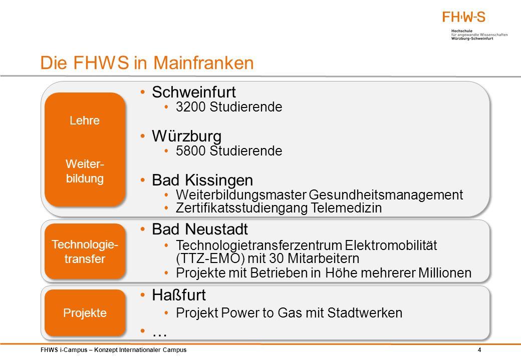 FHWS i-Campus – Konzept Internationaler Campus 4 Die FHWS in Mainfranken Schweinfurt 3200 Studierende Würzburg 5800 Studierende Bad Kissingen Weiterbi