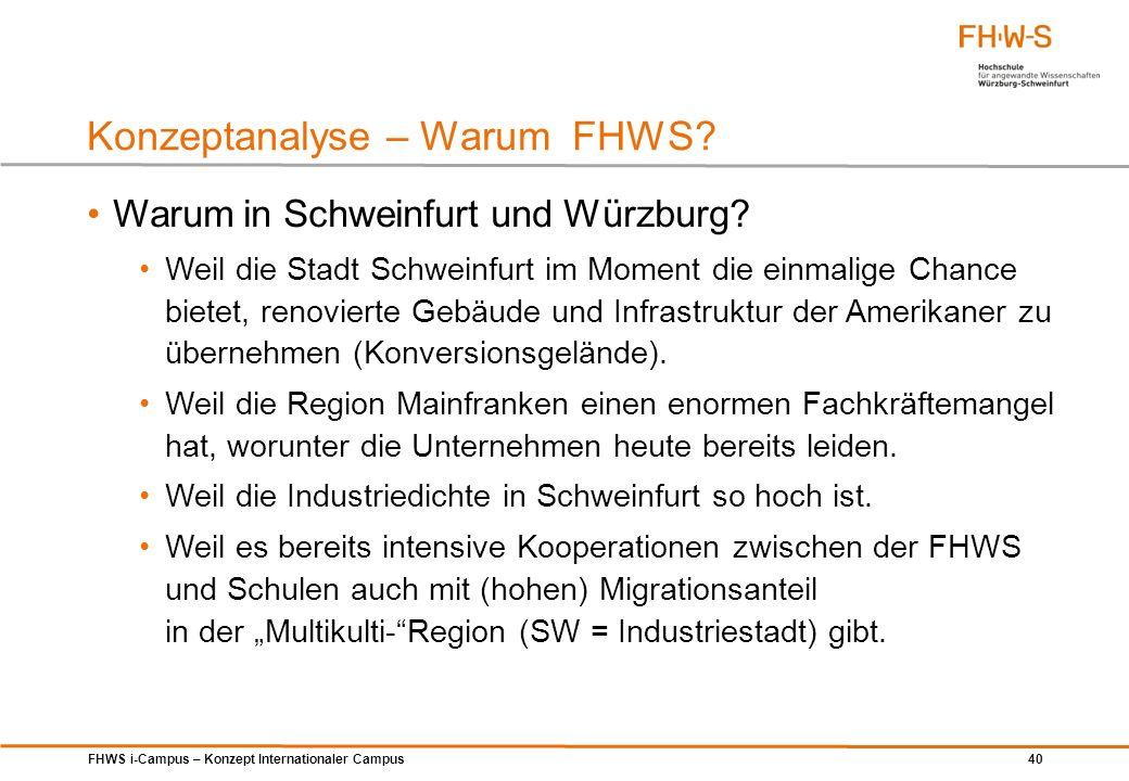 FHWS i-Campus – Konzept Internationaler Campus 40 Warum in Schweinfurt und Würzburg? Weil die Stadt Schweinfurt im Moment die einmalige Chance bietet,