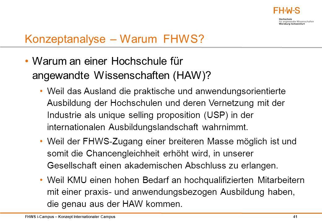 FHWS i-Campus – Konzept Internationaler Campus 41 Warum an einer Hochschule für angewandte Wissenschaften (HAW)? Weil das Ausland die praktische und a