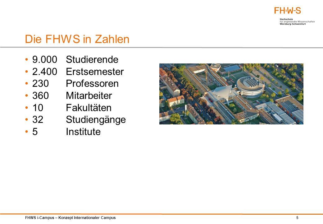 FHWS i-Campus – Konzept Internationaler Campus 5 Die FHWS in Zahlen 9.000Studierende 2.400Erstsemester 230Professoren 360Mitarbeiter 10Fakultäten 32St