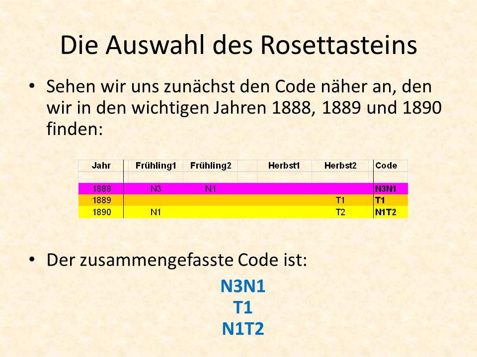 Die Auswahl des Rosettasteins Sehen wir uns zunächst den Code näher an, den wir in den wichtigen Jahren 1888, 1889 und 1890 finden: Der zusammengefasste Code ist: N3N1 T1 N1T2