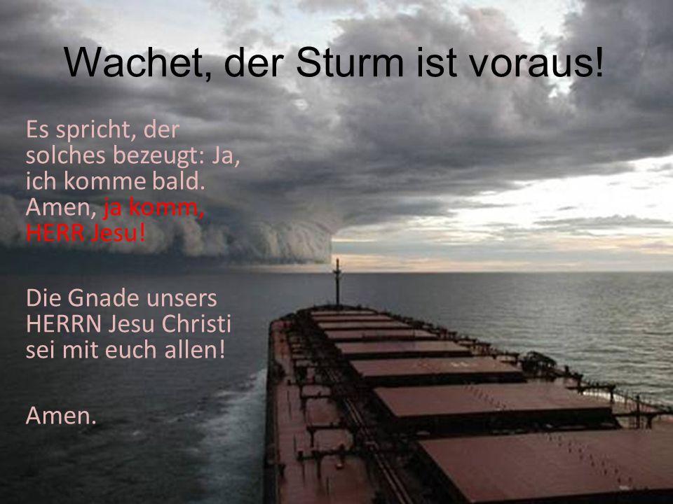 Wachet, der Sturm ist voraus! Es spricht, der solches bezeugt: Ja, ich komme bald. Amen, ja komm, HERR Jesu! Die Gnade unsers HERRN Jesu Christi sei m