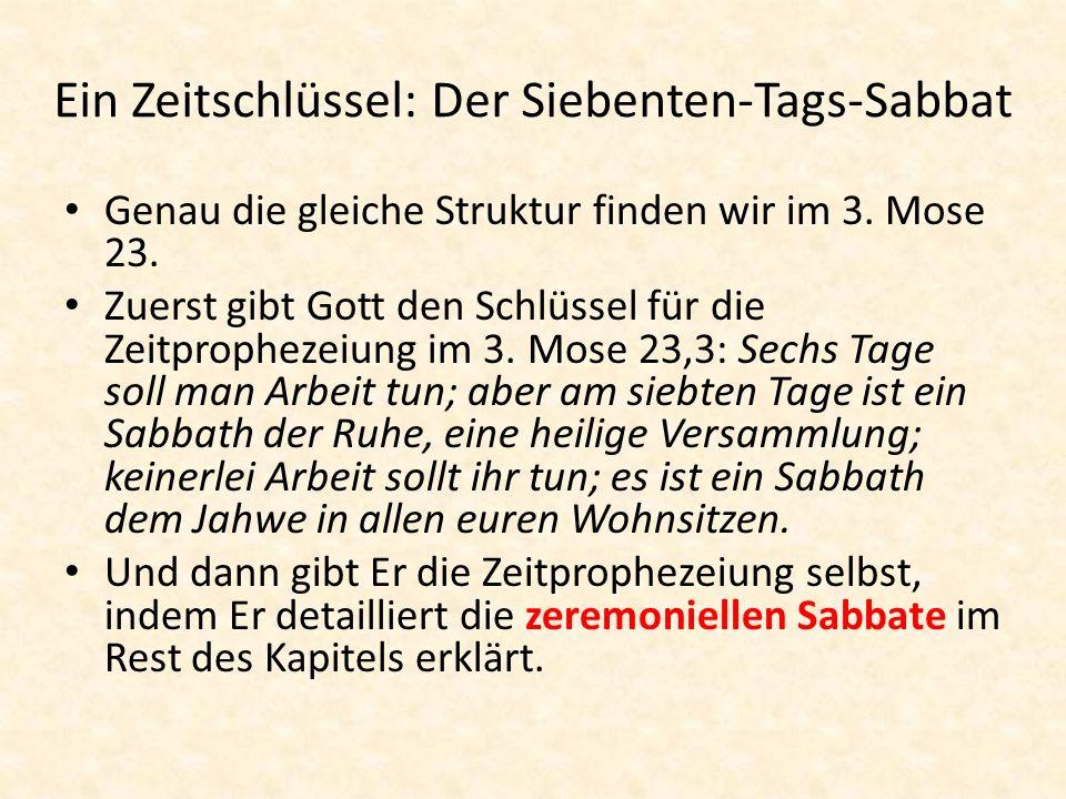 Ein Zeitschlüssel: Der Siebenten-Tags-Sabbat Genau die gleiche Struktur finden wir im 3. Mose 23. Zuerst gibt Gott den Schlüssel für die Zeitprophezei