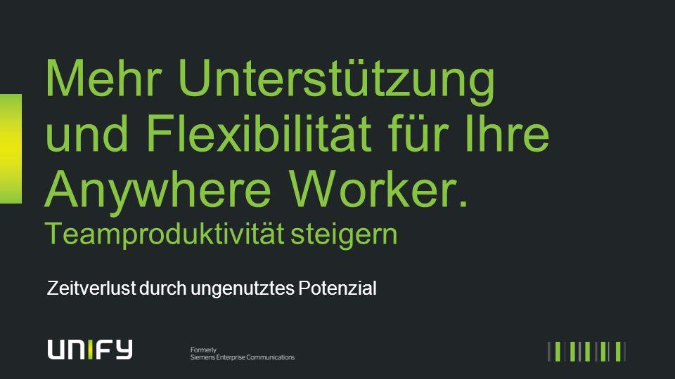 Mehr Unterstützung und Flexibilität für Ihre Anywhere Worker. Teamproduktivität steigern Zeitverlust durch ungenutztes Potenzial