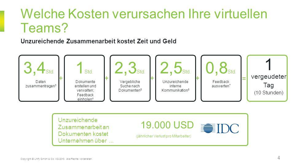 4 Welche Kosten verursachen Ihre virtuellen Teams? Unzureichende Zusammenarbeit kostet Zeit und Geld Copyright © Unify GmbH & Co. KG 2013. Alle Rechte