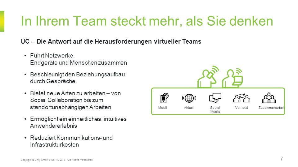 7 In Ihrem Team steckt mehr, als Sie denken UC – Die Antwort auf die Herausforderungen virtueller Teams Copyright © Unify GmbH & Co. KG 2013. Alle Rec