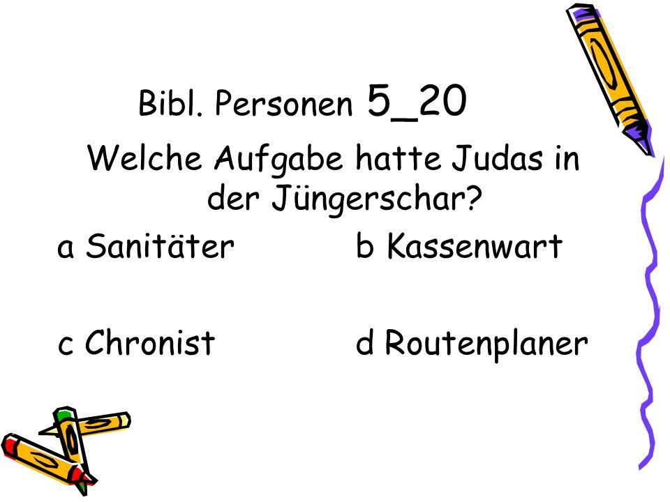 Bibl. Personen 5_20 Welche Aufgabe hatte Judas in der Jüngerschar.
