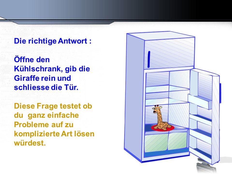 Frage Nummer 2 Wie gibst Du einen Elefant in den Kühlschrank ?