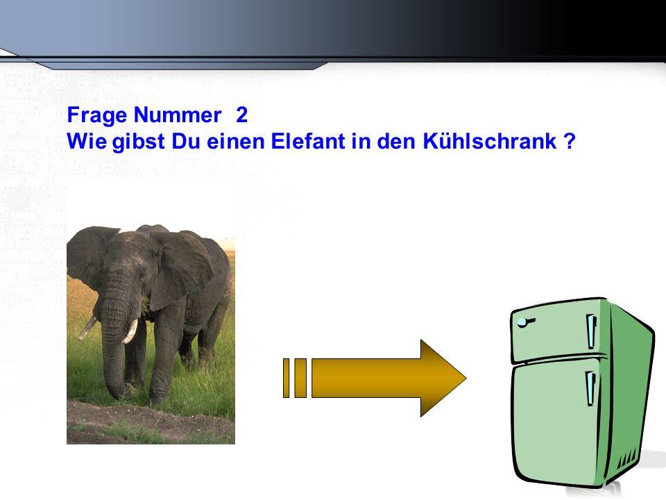 Falsche Antwort : Öffne den Kühlschrank, gib den Elefant rein und schliesse den Kühlschrank.