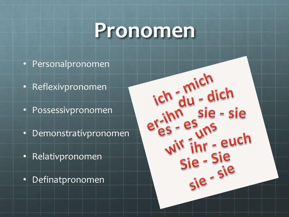 Pronomen Personalpronomen Reflexivpronomen Possessivpronomen Demonstrativpronomen Relativpronomen Definatpronomen