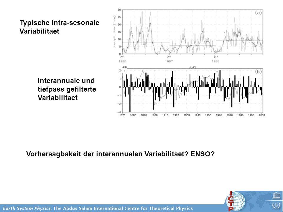 Typische intra-sesonale Variabilitaet Interannuale und tiefpass gefilterte Variabilitaet Vorhersagbakeit der interannualen Variabilitaet? ENSO?