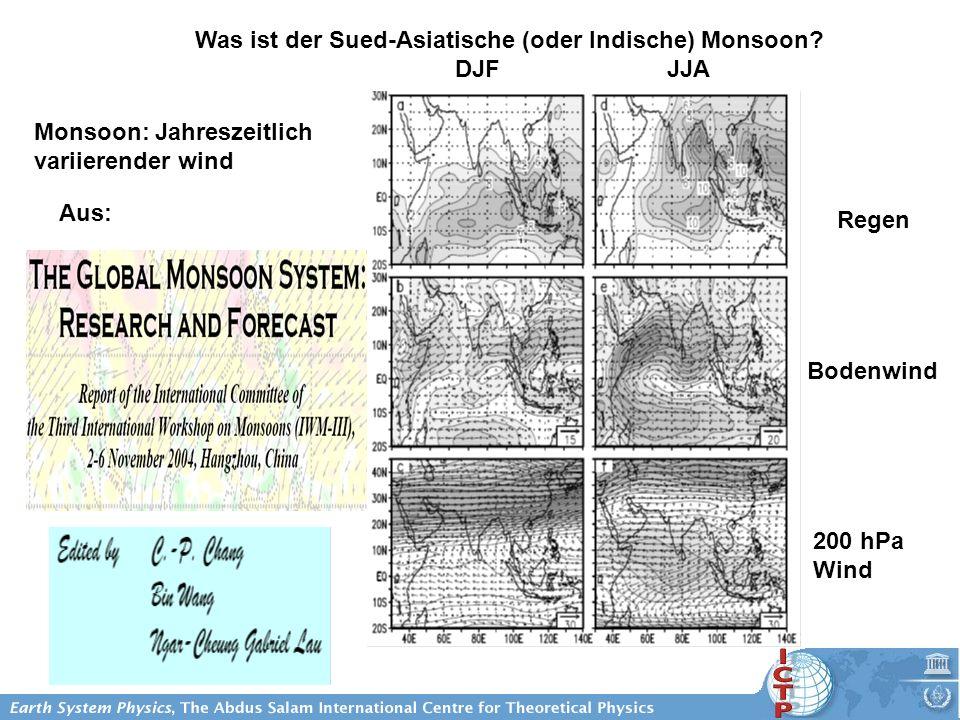 Was ist der Sued-Asiatische (oder Indische) Monsoon? DJF JJA Aus: Monsoon: Jahreszeitlich variierender wind Regen Bodenwind 200 hPa Wind