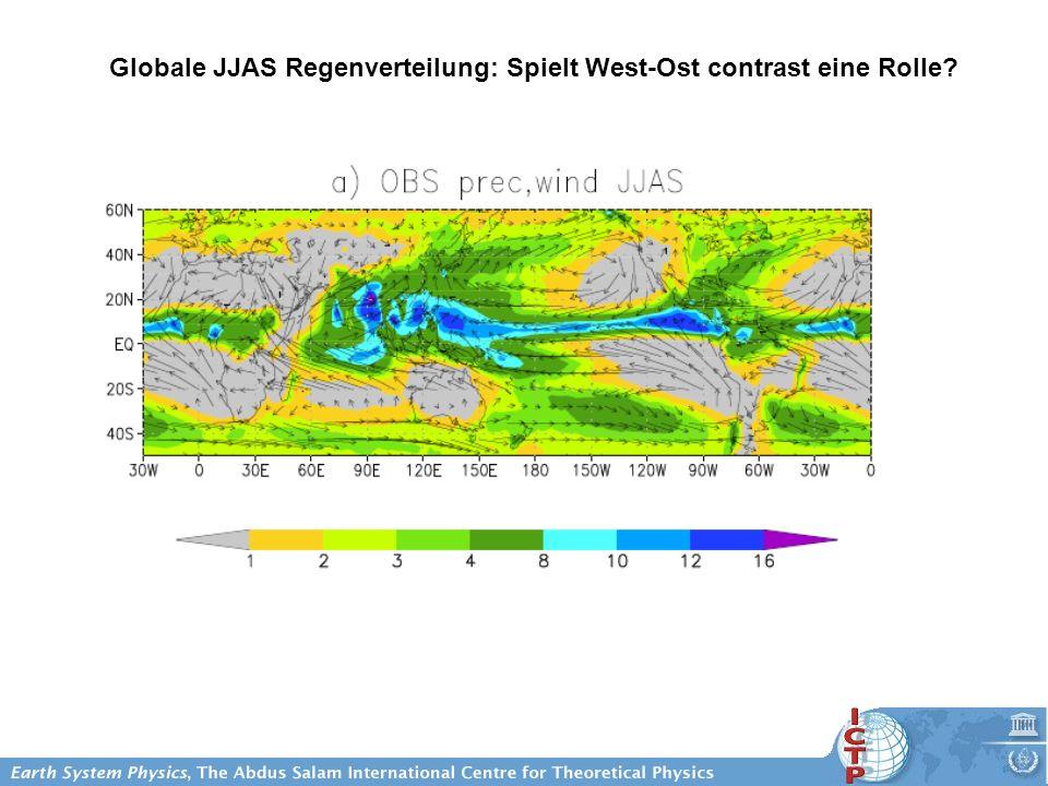 Globale JJAS Regenverteilung: Spielt West-Ost contrast eine Rolle?