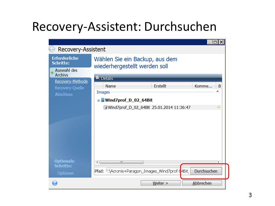 Recovery-Assistent: Durchsuchen 3