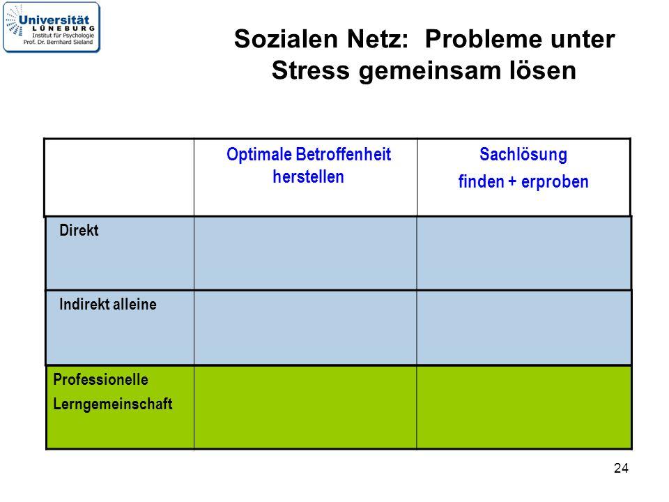 24 Optimale Betroffenheit herstellen Sachlösung finden + erproben Direkt Professionelle Lerngemeinschaft Indirekt alleine Sozialen Netz: Probleme unter Stress gemeinsam lösen