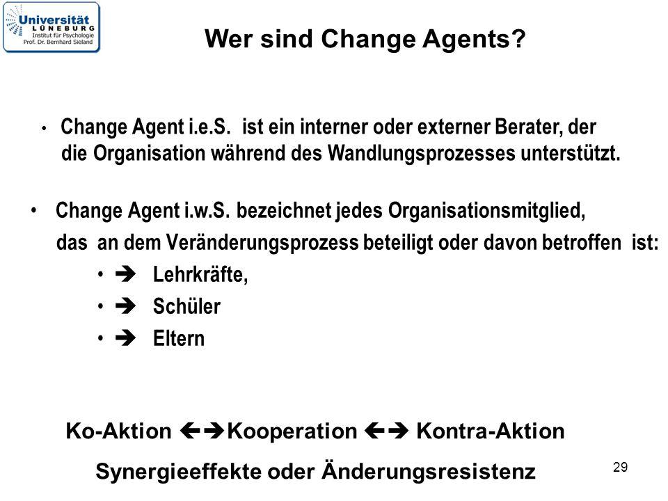 29 Change Agent i.w.S. bezeichnet jedes Organisationsmitglied, das an dem Veränderungsprozess beteiligt oder davon betroffen ist: Lehrkräfte, Schüler