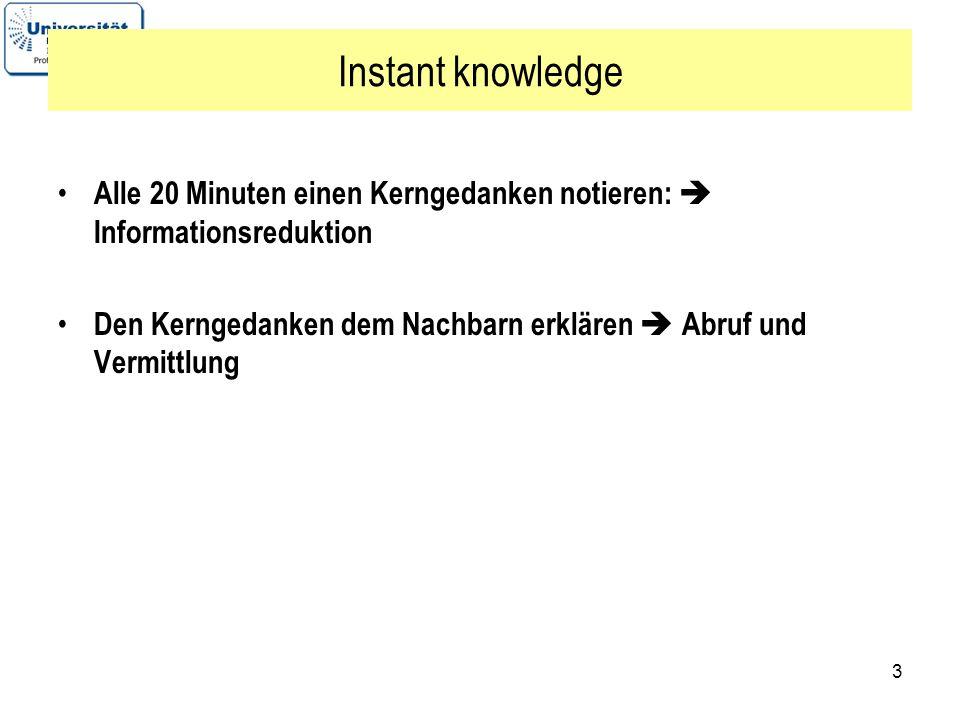 3 Instant knowledge Alle 20 Minuten einen Kerngedanken notieren: Informationsreduktion Den Kerngedanken dem Nachbarn erklären Abruf und Vermittlung