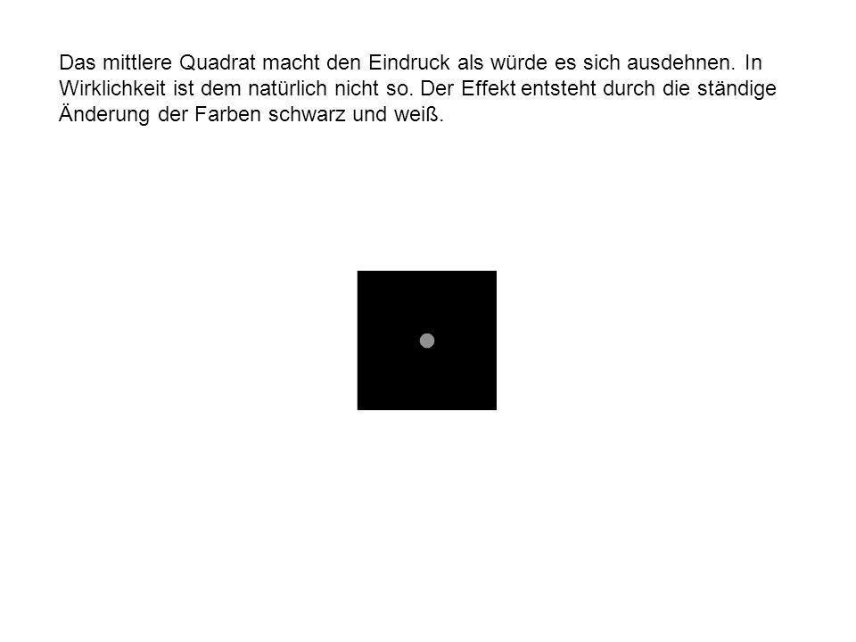 Das mittlere Quadrat macht den Eindruck als würde es sich ausdehnen.