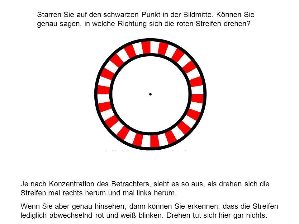 Starren Sie auf den schwarzen Punkt in der Bildmitte.