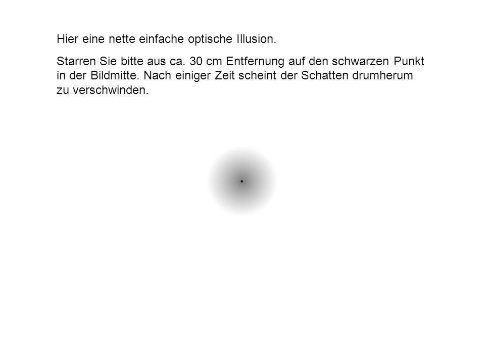 Hier eine nette einfache optische Illusion.Starren Sie bitte aus ca.