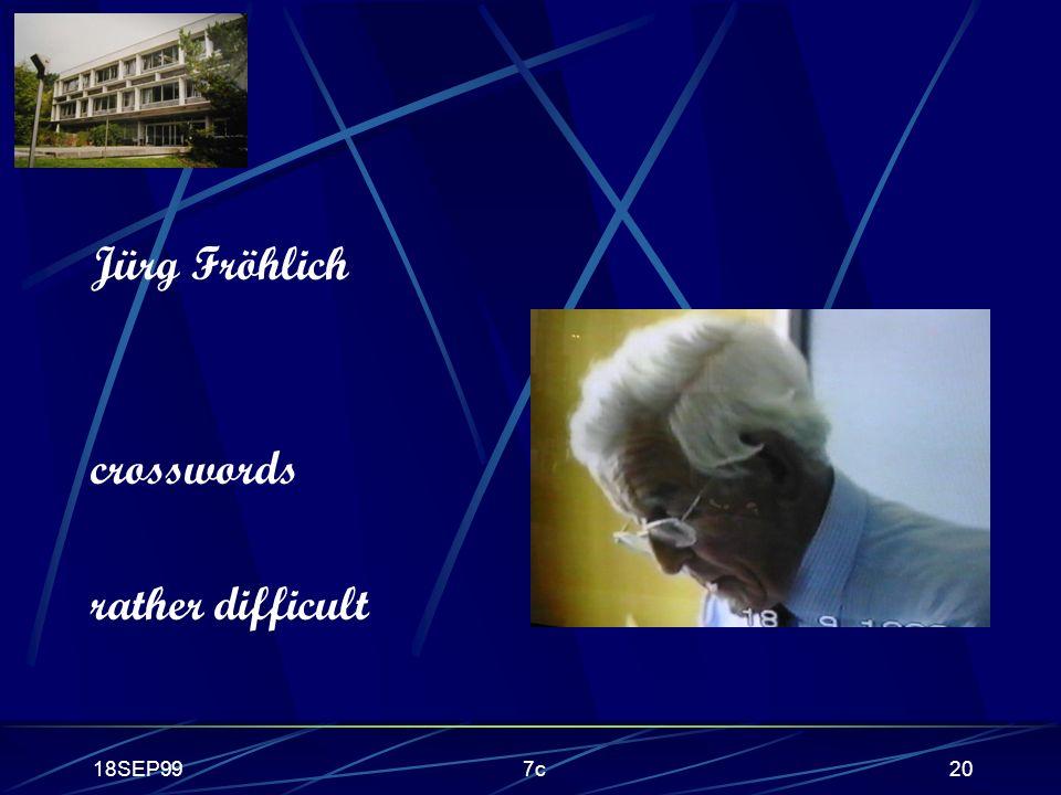 18SEP997c20 Jürg Fröhlich crosswords rather difficult