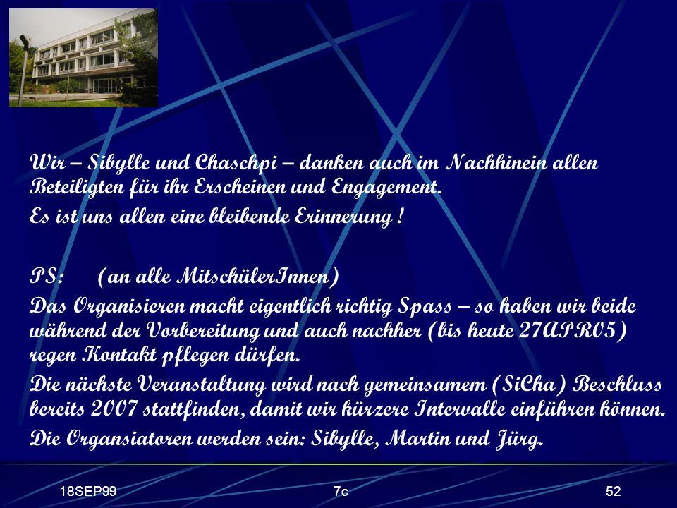 18SEP997c52 Wir – Sibylle und Chaschpi – danken auch im Nachhinein allen Beteiligten für ihr Erscheinen und Engagement. Es ist uns allen eine bleibend