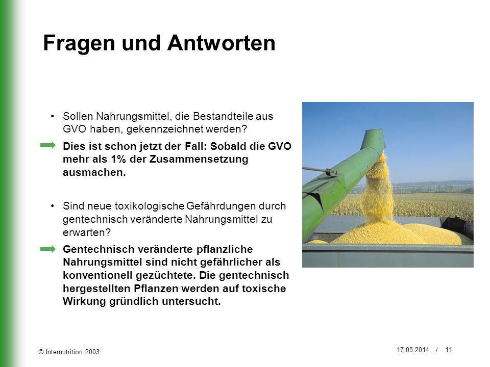 © Internutrition 2003 17.05.2014 / 11 Fragen und Antworten Sollen Nahrungsmittel, die Bestandteile aus GVO haben, gekennzeichnet werden? Dies ist scho