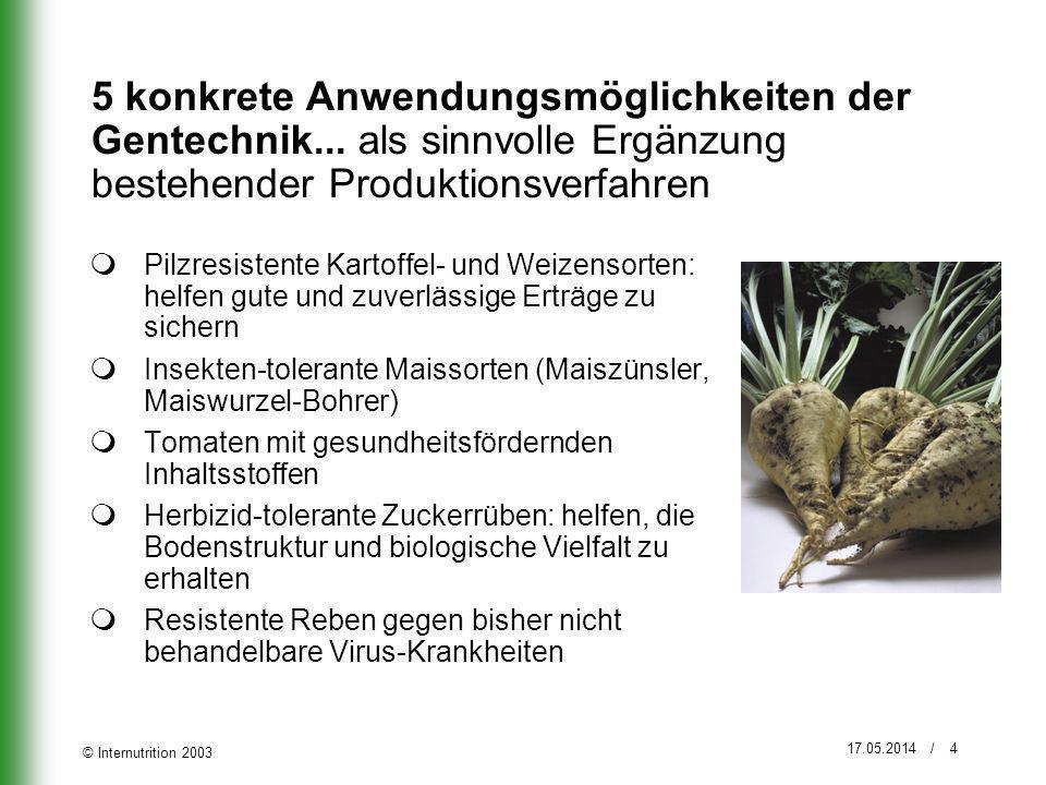 © Internutrition 2003 17.05.2014 / 5 5 gute Gründe weshalb die Schweizer Landwirtschaft nicht auf die Gentechnik verzichten sollte Gentechnik ist sicher.