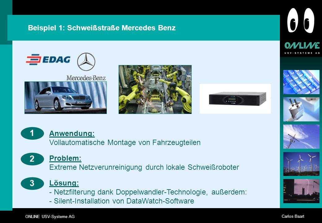 ONLINE USV-Systeme AG Carlos Baart Beispiel 1: Schweißstraße Mercedes Benz 23 Anwendung: Vollautomatische Montage von Fahrzeugteilen 1 Problem: Extrem