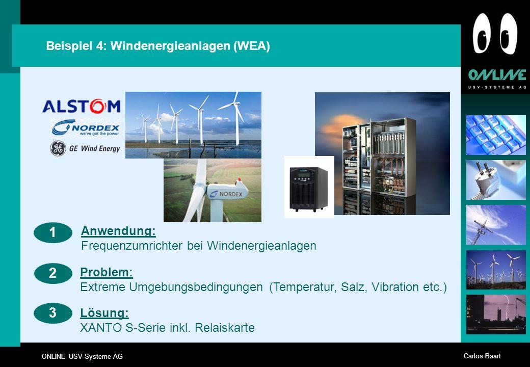 ONLINE USV-Systeme AG Carlos Baart Beispiel 4: Windenergieanlagen (WEA) 23 Anwendung: Frequenzumrichter bei Windenergieanlagen 1 Problem: Extreme Umge