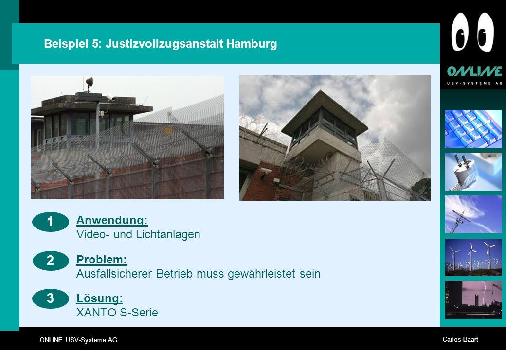 ONLINE USV-Systeme AG Carlos Baart Beispiel 5: Justizvollzugsanstalt Hamburg 23 Anwendung: Video- und Lichtanlagen 1 Problem: Ausfallsicherer Betrieb