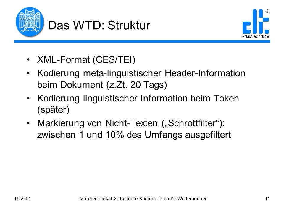 15.2.02Manfred Pinkal, Sehr große Korpora für große Wörterbücher 11 Das WTD: Struktur XML-Format (CES/TEI) Kodierung meta-linguistischer Header-Information beim Dokument (z.Zt.