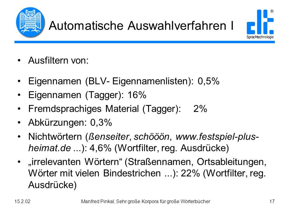 15.2.02Manfred Pinkal, Sehr große Korpora für große Wörterbücher 17 Automatische Auswahlverfahren I Ausfiltern von: Eigennamen (BLV- Eigennamenlisten): 0,5% Eigennamen (Tagger): 16% Fremdsprachiges Material (Tagger): 2% Abkürzungen: 0,3% Nichtwörtern (ßenseiter, schööön, www.festspiel-plus- heimat.de...): 4,6% (Wortfilter, reg.