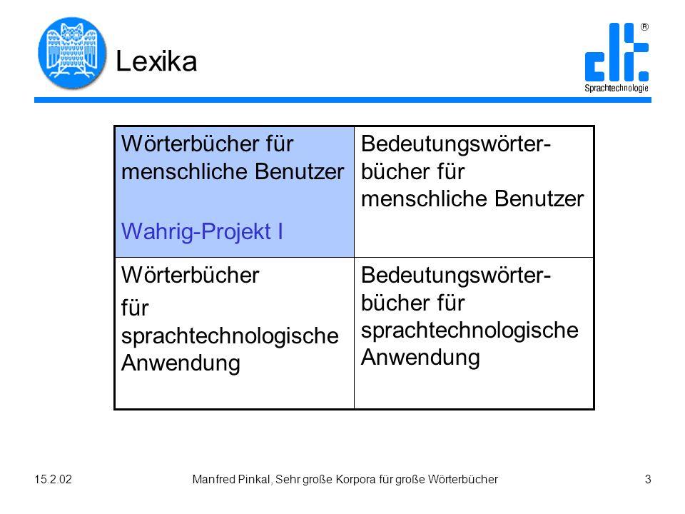 15.2.02Manfred Pinkal, Sehr große Korpora für große Wörterbücher 3 Lexika Bedeutungswörter- bücher für sprachtechnologische Anwendung Wörterbücher für