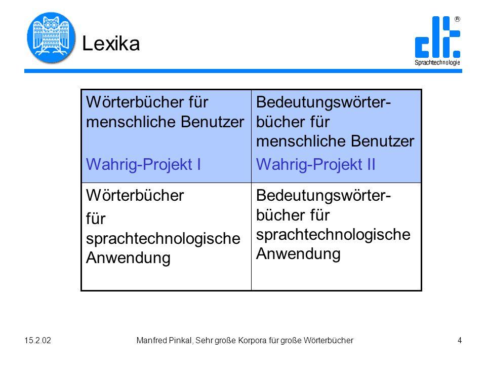 15.2.02Manfred Pinkal, Sehr große Korpora für große Wörterbücher 4 Lexika Bedeutungswörter- bücher für sprachtechnologische Anwendung Wörterbücher für