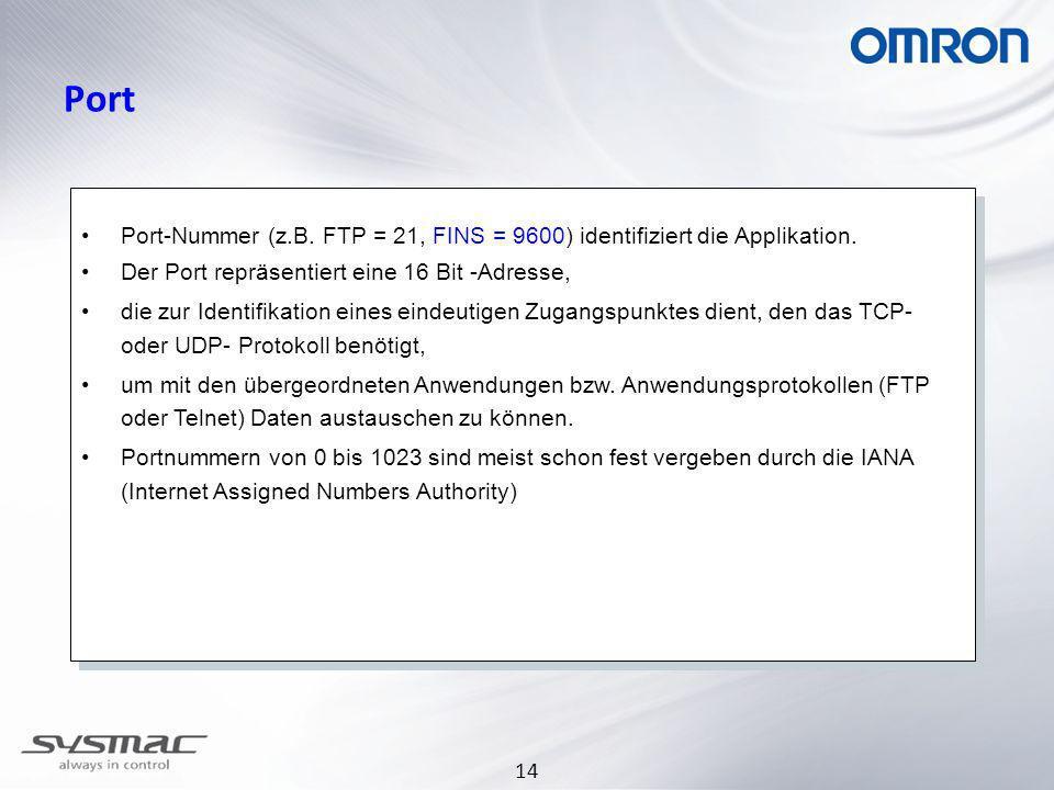 14 Port Port-Nummer (z.B. FTP = 21, FINS = 9600) identifiziert die Applikation. Der Port repräsentiert eine 16 Bit -Adresse, die zur Identifikation ei