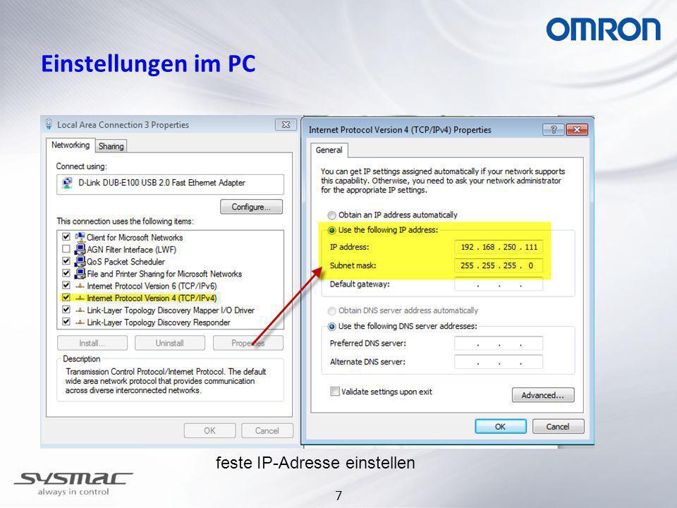 7 Einstellungen im PC feste IP-Adresse einstellen