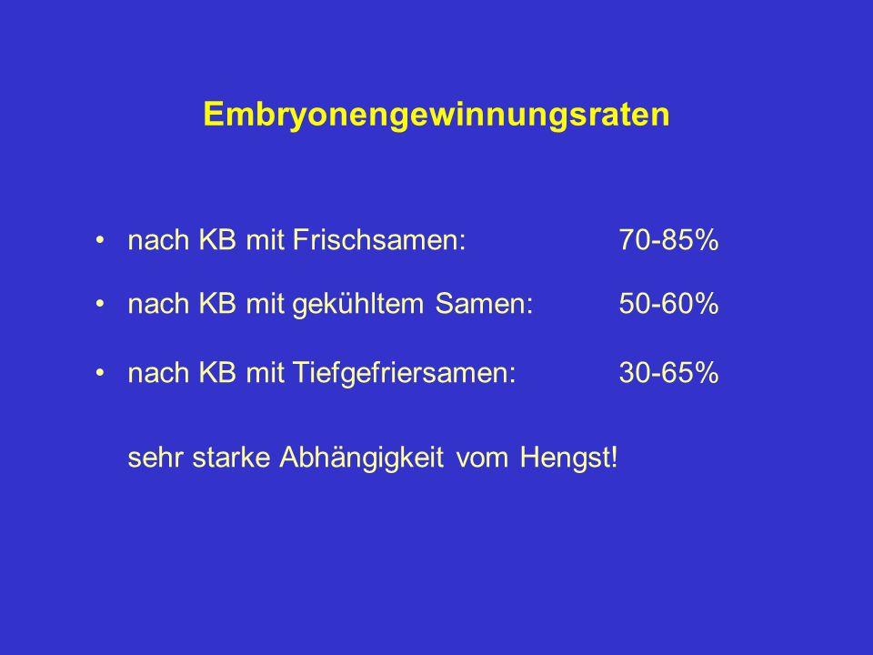 Embryonengewinnungsraten nach KB mit Frischsamen: 70-85% nach KB mit gekühltem Samen:50-60% nach KB mit Tiefgefriersamen:30-65% sehr starke Abhängigke