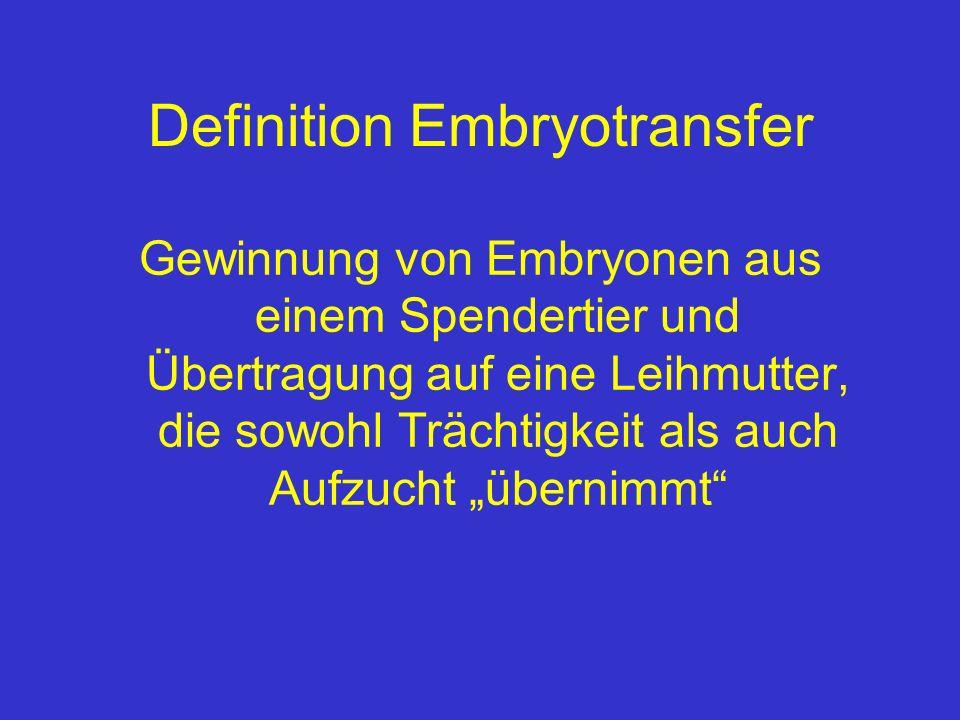 Anwendung des Embryotransfer beim Pferd - heute weltweite Nutzung für Forschungsprojekte zur Aufklärung von Embryonalentwicklung und Trächtigkeit bei der Stute in der Pferdezucht: begrenzter Einsatz - relativ gute Nutzung in USA (AQH) - zurückhaltende Nutzung in Europa (D: <10 registrierte Warmblutfohlen pro Jahr aus ET)