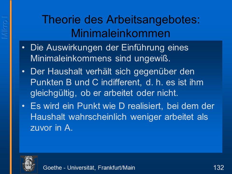 Goethe - Universität, Frankfurt/Main 132 Theorie des Arbeitsangebotes: Minimaleinkommen Die Auswirkungen der Einführung eines Minimaleinkommens sind ungewiß.