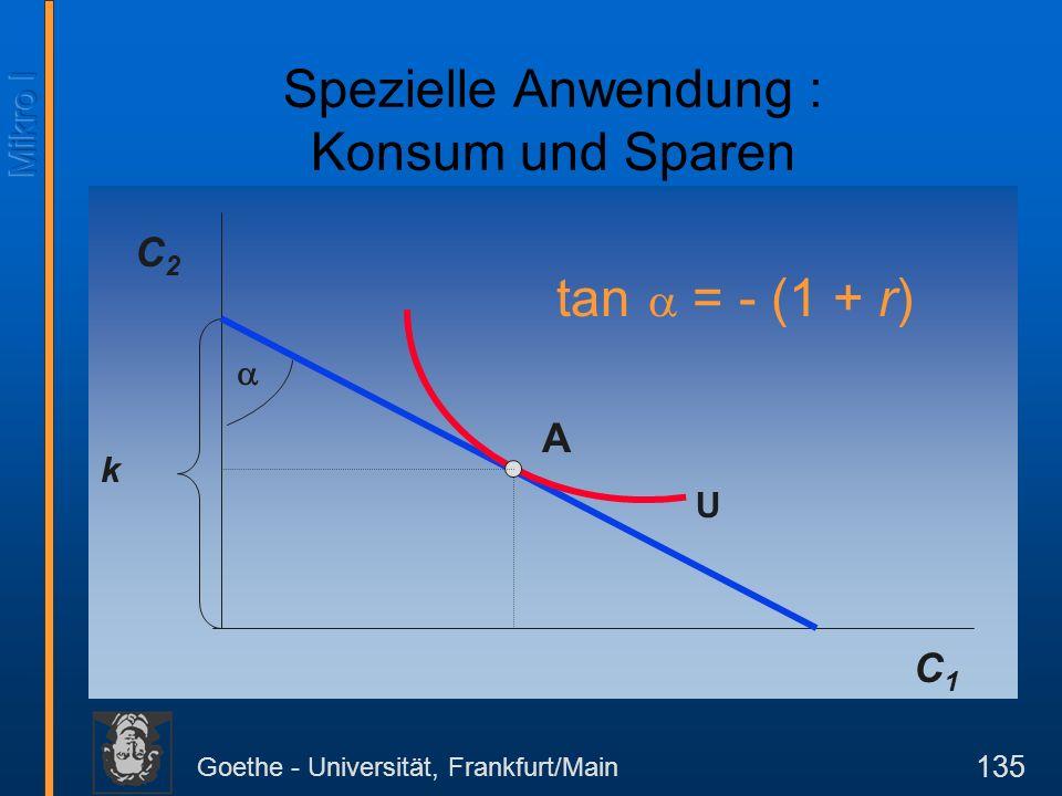Goethe - Universität, Frankfurt/Main 135 C2C2 k tan = - (1 + r) C1C1 U Spezielle Anwendung : Konsum und Sparen A