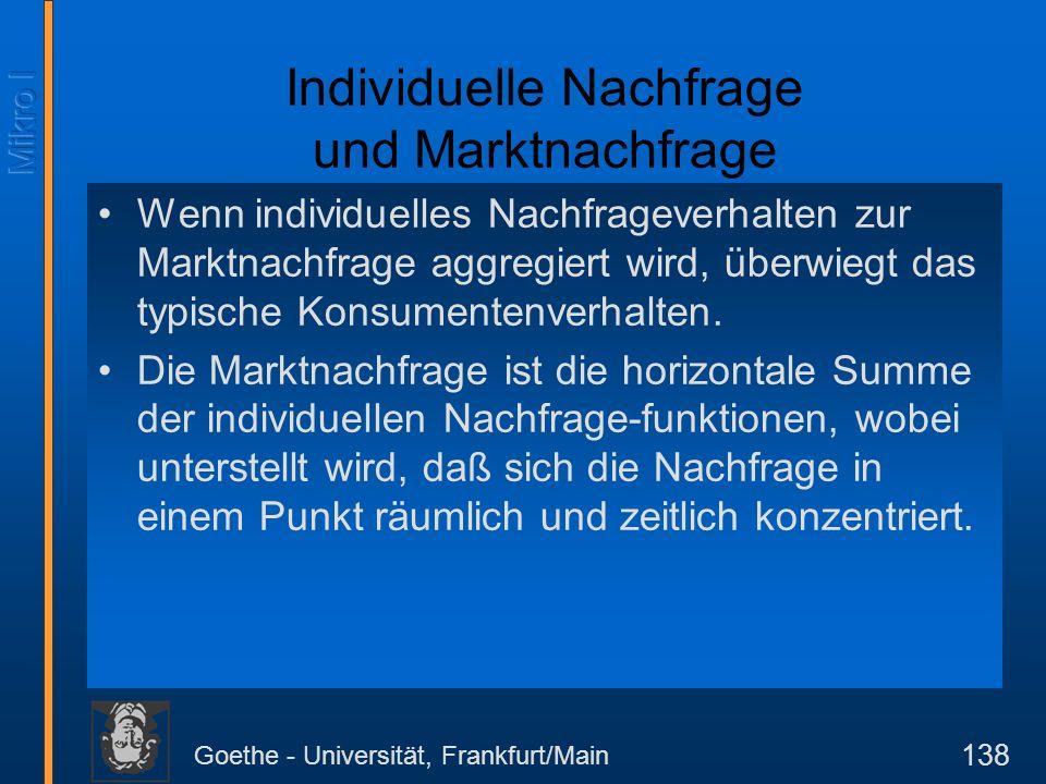 Goethe - Universität, Frankfurt/Main 138 Individuelle Nachfrage und Marktnachfrage Wenn individuelles Nachfrageverhalten zur Marktnachfrage aggregiert wird, überwiegt das typische Konsumentenverhalten.