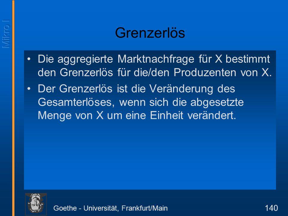 Goethe - Universität, Frankfurt/Main 140 Grenzerlös Die aggregierte Marktnachfrage für X bestimmt den Grenzerlös für die/den Produzenten von X. Der Gr