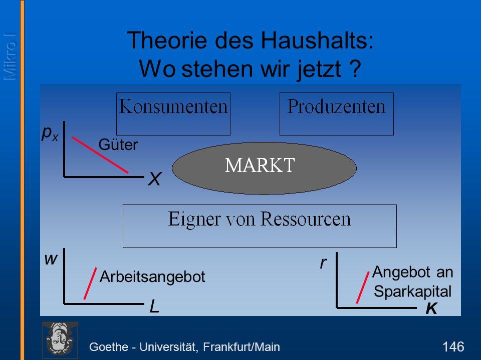 Goethe - Universität, Frankfurt/Main 146 w L Arbeitsangebot r K Angebot an Sparkapital pxpx X Güter Theorie des Haushalts: Wo stehen wir jetzt ?