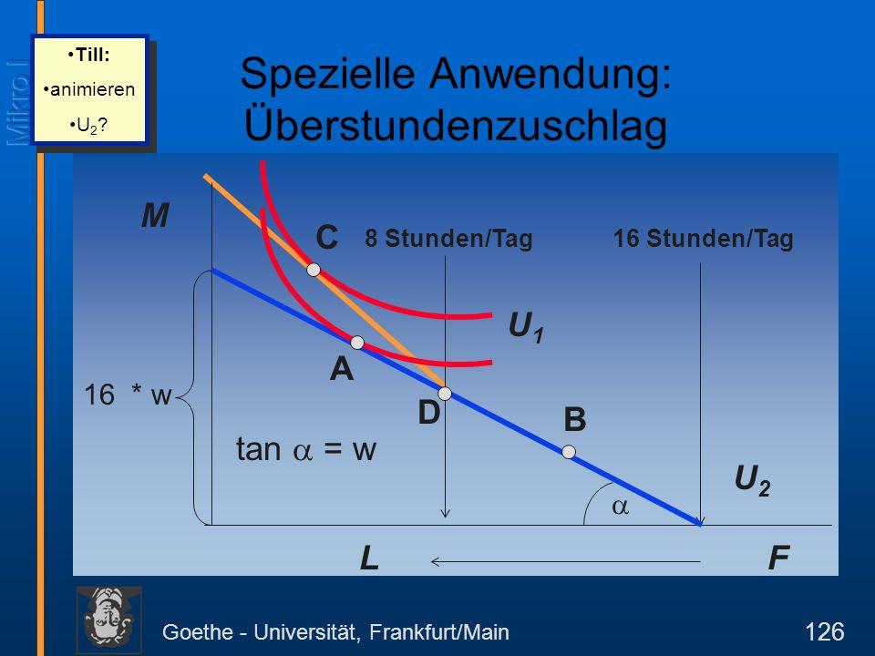 Goethe - Universität, Frankfurt/Main 126 M F 16 Stunden/Tag 16 * w tan = w L 8 Stunden/Tag U2U2 B U1U1 C D A Spezielle Anwendung: Überstundenzuschlag Till: animieren U 2 .