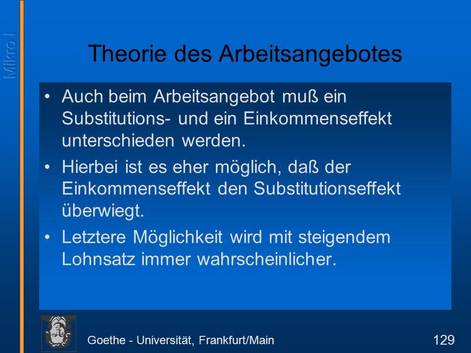 Goethe - Universität, Frankfurt/Main 129 Theorie des Arbeitsangebotes Auch beim Arbeitsangebot muß ein Substitutions- und ein Einkommenseffekt unterschieden werden.